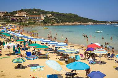 Beachgoers in Sardinia