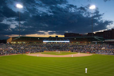 Durham Bulls Athletic Park night outfield