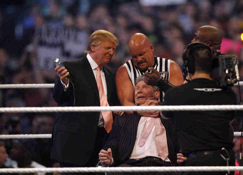 donald trump shaves vince mcmahon