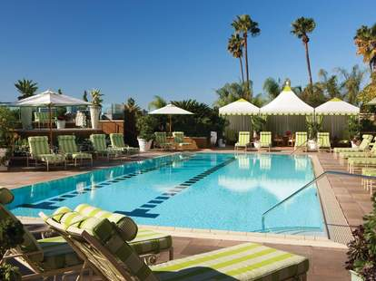 The rooftop pool at the Four Seasons Hotel in Beverly Hills