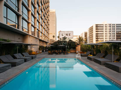 Pool deck at the Line Hotel in LA