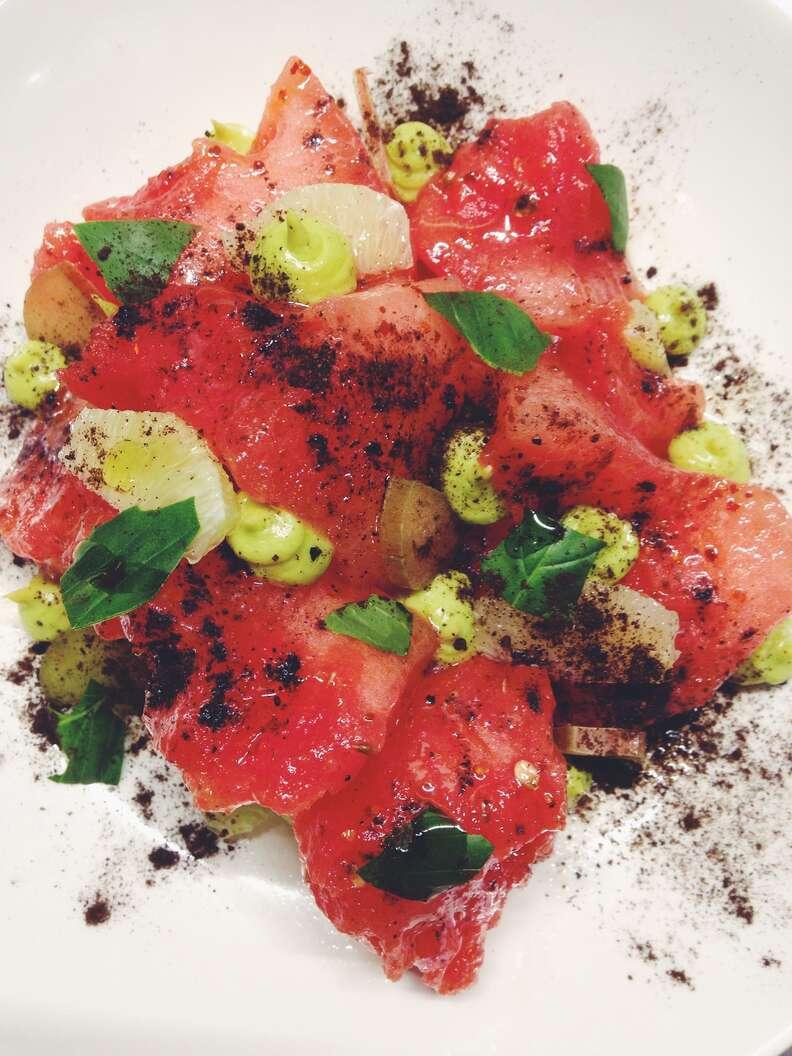 Watermelon, rhubarb, and avocado Salad