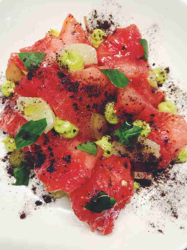 Watermelon, rhubarb, and avocado Salad