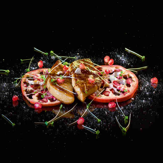 Grilled foie gras with spicy pomegranate seeds