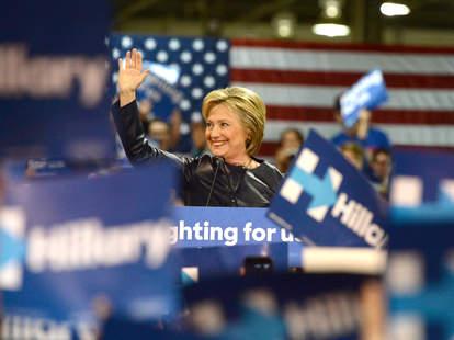 Hilary Clinton running for president during 2016 race
