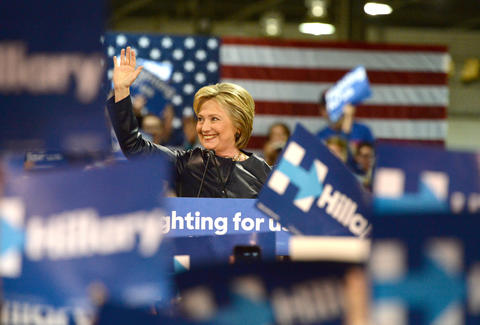 Hilary Clinton running for president during 2016 race
