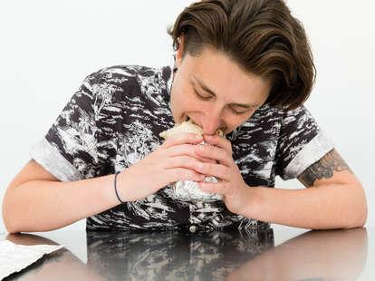 eating a burrito