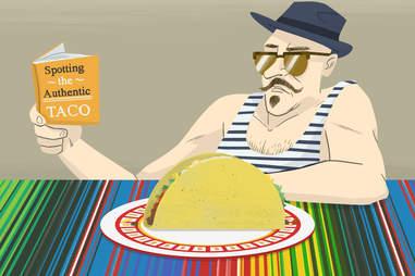 Hipster Looking at Taco
