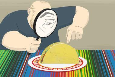 Nerd Examining Taco