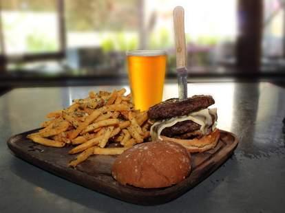 bear republic brewing burger, fries and beer