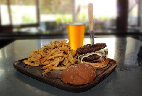 bear republic brewing burger, fries and beer