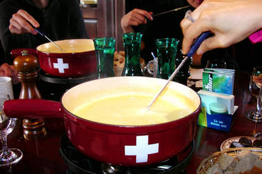Fun swiss fondue party