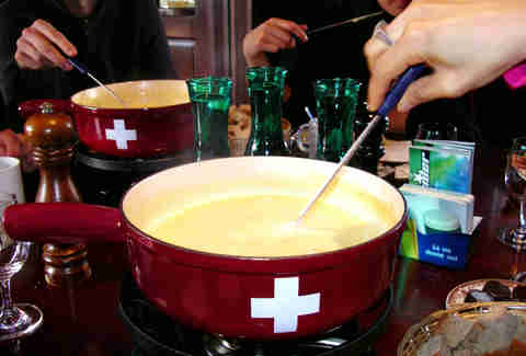 Fun swiss fondue party