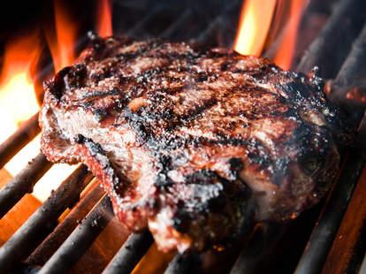 ribeye steak on the grill