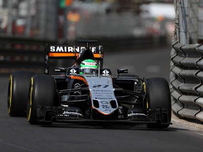 A Force India Formula One Car Drives at Monaco