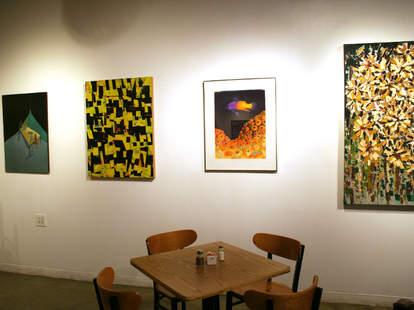 Artwork and vegetarian food at Cass Café in Detroit