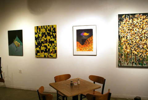 Artwork and vegetarian food at Cass Café in Detroit