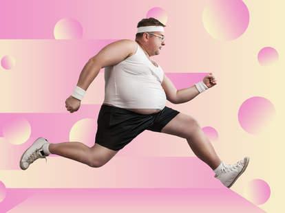 fat man running headband