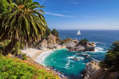 an ocean cove surrounded by large, grassy cliffs and palm trees