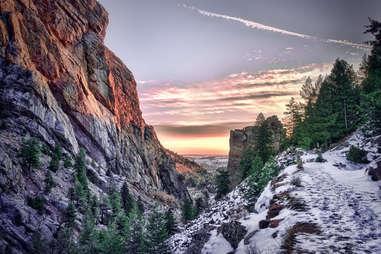 a glimpse through a snowy canyon