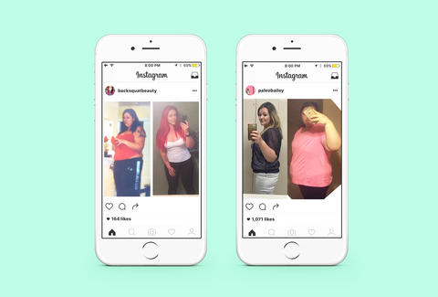Before and After weight loss Instagram