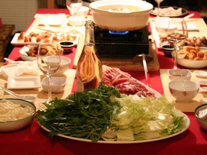 hot pot table spread