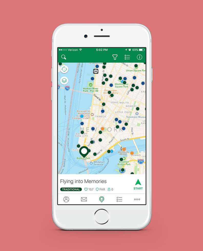 screenshot of geocaching app in nyc