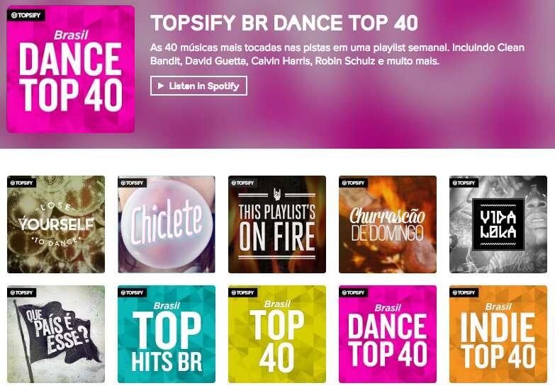 screenshot of topsify app brasil page