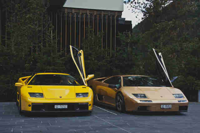 Two yellow Lamborghini Diablos