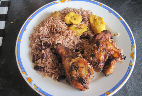 grilled chicken, rice and fried plantains