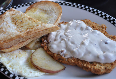 chicken fried steak and potatoes