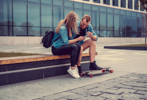young skateboard couple