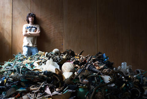 photo of Boyal Slat with ocean trash
