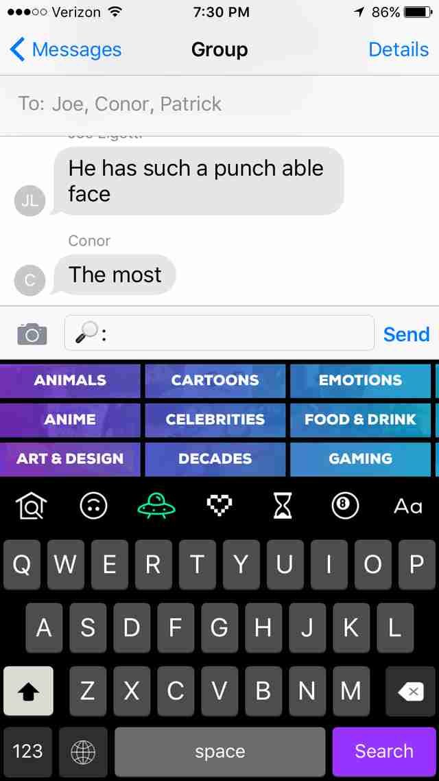gif keyboard by giphy for iPhone