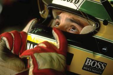Ayrton Senna Concentrating before a race