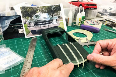 Diecast Model being Taped for painting