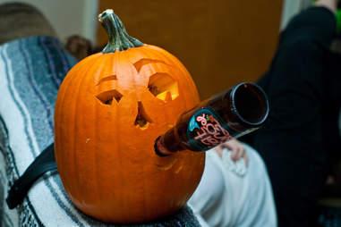 pumpkin drinking beer