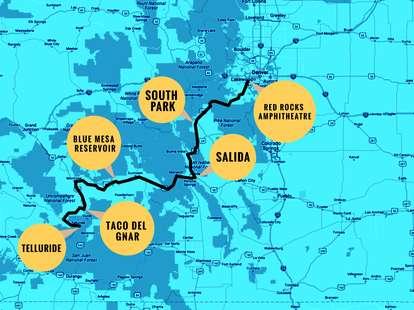 Colorado Road trip map