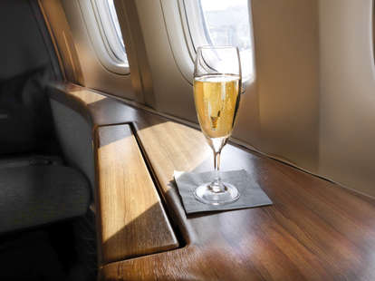 airplane champagne drinks booze