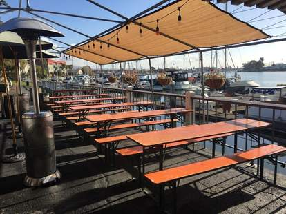 Great beers and German pub food on Brotzeit Lokal's outdoor patio in San Francisco