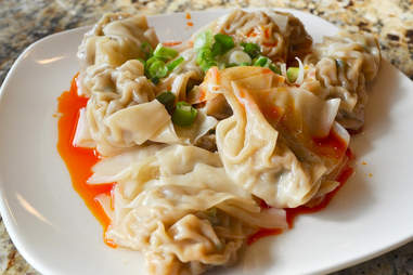 China Jade Wontons in red chili oil