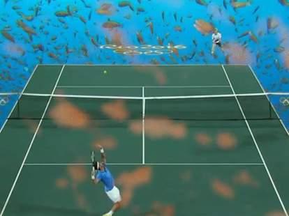 tennis court green screen olympics