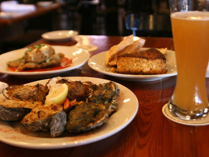 Baked oysters and pasta at Mosca's in New Orleans