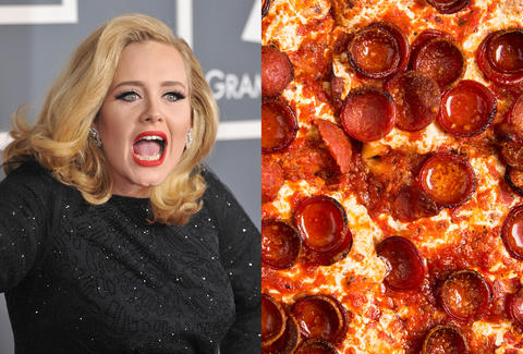 Adele singing in concert, pizza
