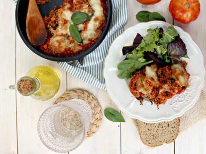 Spinach quinoa skillet lasagna