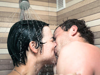 lovers kissing in the shower