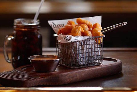 Great cheese curds and beer at The Horse & Plow in Kohler WI