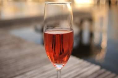Rose wine outside