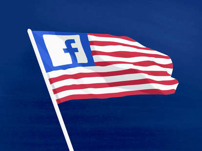american flag with facebook logo