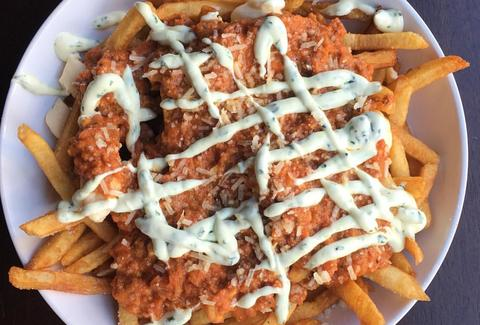 vegetarian poutine the gallows south boston